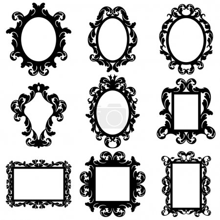 Illustration for Vector Set of Baroque Frame Silhouettes with nine frames - Royalty Free Image