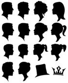 Vector Set of Female and Male Adult and Child Cameo Silhouettes