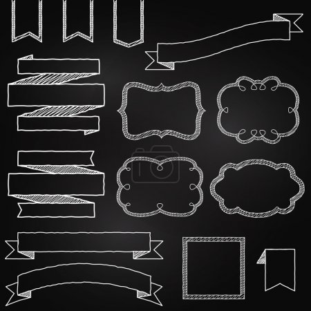 Photo for Vector Collection of Chalkboard Style Banners, Ribbons and Frames - Royalty Free Image