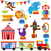 Vector Set of Cute Cartoon Circus Themed Images