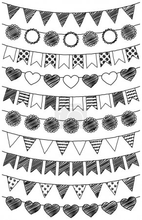 Illustration for Vector Set of Hand Drawn Doodle Bunting - Royalty Free Image