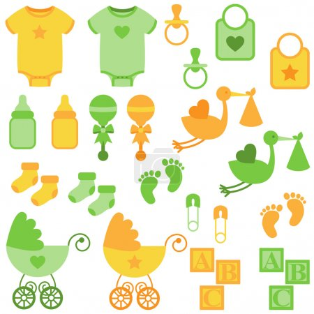Vector Set of Neutral Colored Baby Items and Symbols
