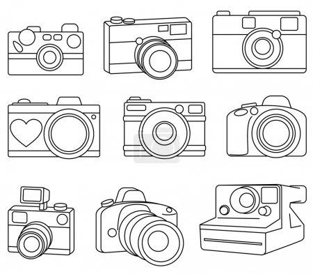 Hand Drawn Set of Vector Cameras