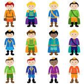 Vector Set of Cute Cartoon Princes