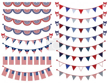 Illustration for Vector Set of Patriotic Bunting - Royalty Free Image