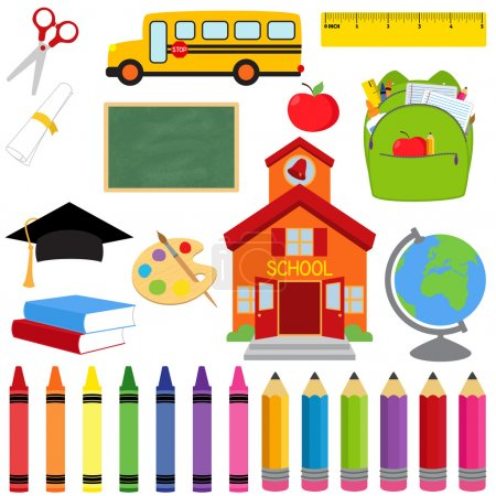 Illustration for Vector Collection of School Supplies and Images - Royalty Free Image