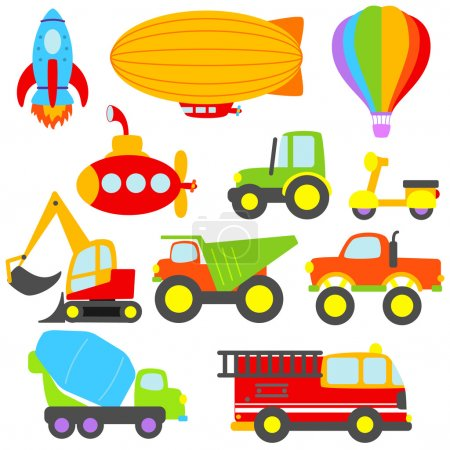 Cute Vector Transportation and Construction Set