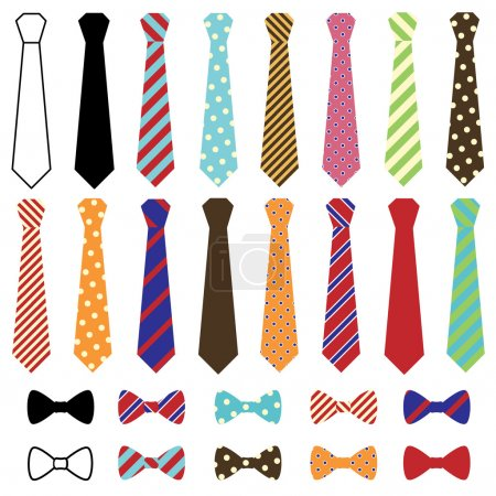 Illustration for Set of Vector Ties and Bow Ties - Royalty Free Image