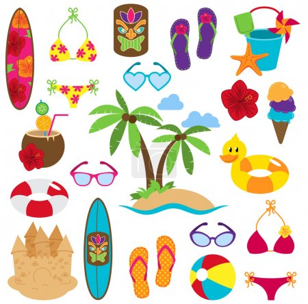 Illustration for Vector Collection of Beach and Tropical Themed Images - Royalty Free Image