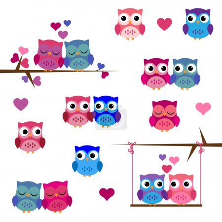 Vector Set of Valentine's Day or Love Themed Owls