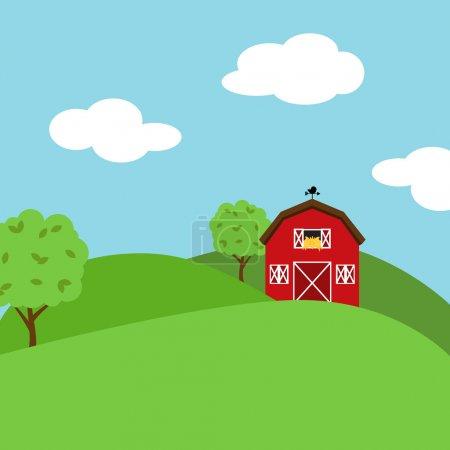 Illustration for Cute Cartoon Vector Farm Landscape - Royalty Free Image