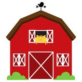 Cute Red Vector Barn with Hay Weather Vane and Bushes