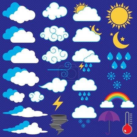 Illustration pour Collection vectorielle d'icônes et de symboles météorologiques - image libre de droit