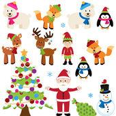 Vector Set of Christmas Animals Santa Claus and Tree