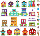 Vector Collection of City and Town Buildings including various signs