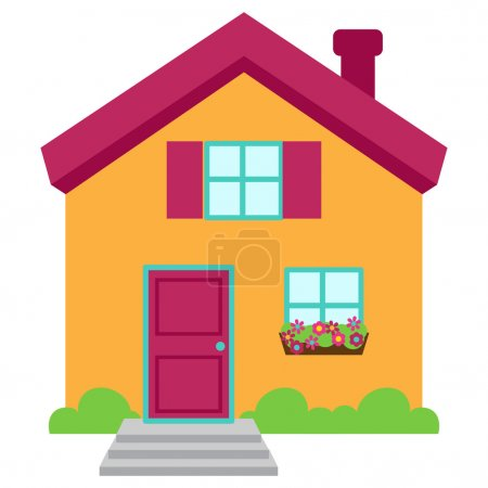 Illustration for Cute and Colorful Isolated Vector Home - Royalty Free Image