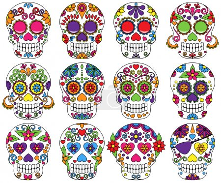Vector Set of Day of the Dead or Sugar Skulls...