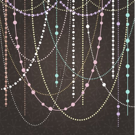 Abstract Vector Background with Hanging Garlands and Lights