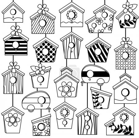 Vector Set of Cute Line Art Birdhouses