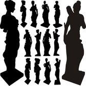 Ősi szobra nő sziluettek vektor