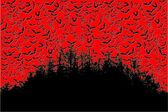 Bats Over The Forest In The Halloween Bloody Red Sky Vector 03