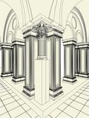 Antique Pillars In The Hall Vector 11