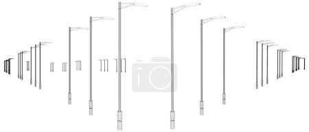 Light Poles In A Row Vector