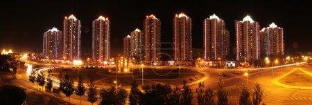 Photo pour Paysage urbain chinois, Architecture chinoise, Siège social chinois, Nuit de l'autoroute de la ville - image libre de droit