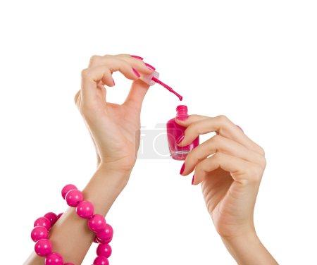 Photo pour Manucure manucure processus - rose et rose et en plastique accessoire bouchent, isolé sur fond blanc - image libre de droit