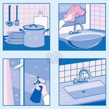 Illustration for A set of vector illustrations of House Cleaning in blue colors. - Royalty Free Image