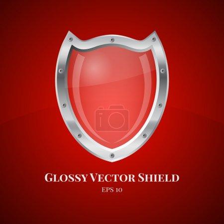 Illustration pour Illustration vectorielle d'icône de symbole de bouclier de sécurité sur fond rouge - image libre de droit