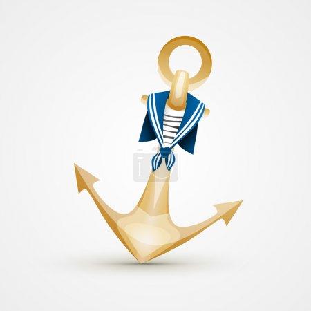 Gold Anchor. White bacground.