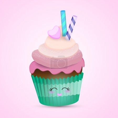 Illustration pour Cupcake rose blanc bacground . - image libre de droit