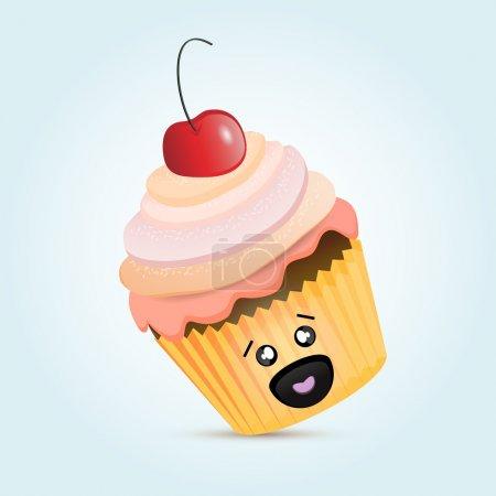 Illustration pour Cupcake aux cerises Blanc bacground . - image libre de droit