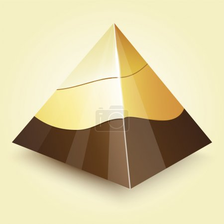 Golden Pyramid. Vector illustration.