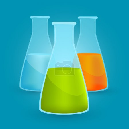 Illustration for Three flasks with different chemical solutions. Vector illustration - Royalty Free Image
