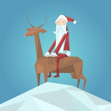 Illustration pour Père Noël et rennes. Illustration vectorielle - image libre de droit