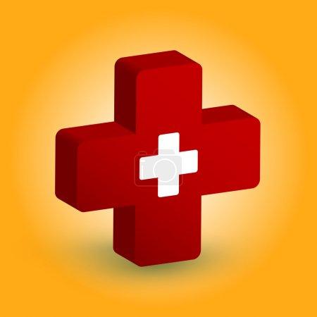 Illustration pour Symbole médical. Croix blanche en croix rouge. Illustration vectorielle - image libre de droit