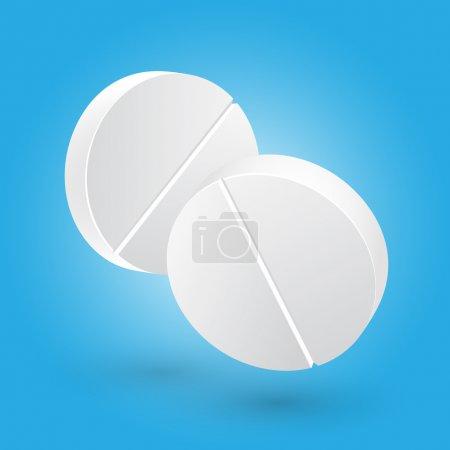 Illustration pour Médicament : deux pilules médicales blanches. Illustration vectorielle - image libre de droit