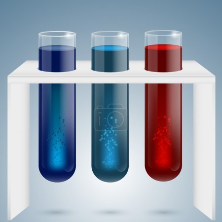 Three test tubes with magical colorful sparkling and bubbling liquid