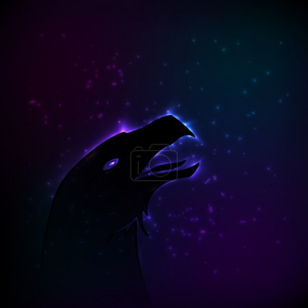 Silhouette of eagle at night. Vector illustration.