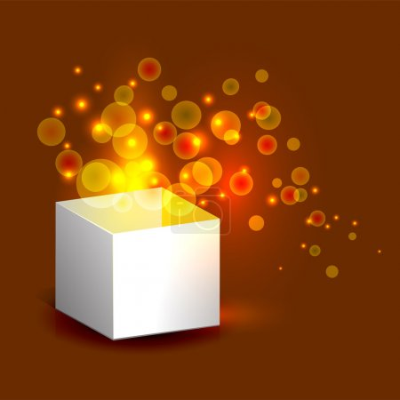 Vector illustration of magic gift box with gold light.