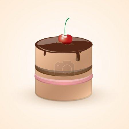 Illustration pour Gâteau au chocolat avec cerise. Illustration vectorielle . - image libre de droit