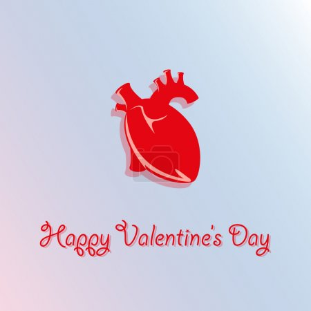 Vector card for Valentine's Day with realistic heart.