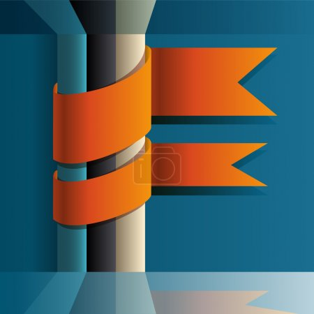 Illustration for Vector background with orange ribbons. - Royalty Free Image