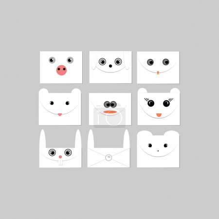 Illustration pour Enveloppes avec des visages d'animaux. Illustration vectorielle - image libre de droit