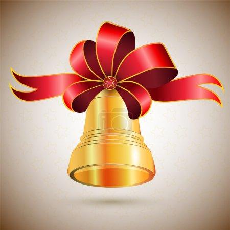 Illustration pour Cloche dorée avec arc. Illustration vectorielle . - image libre de droit