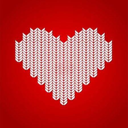Illustration pour Fond vectoriel avec coeur tricoté . - image libre de droit