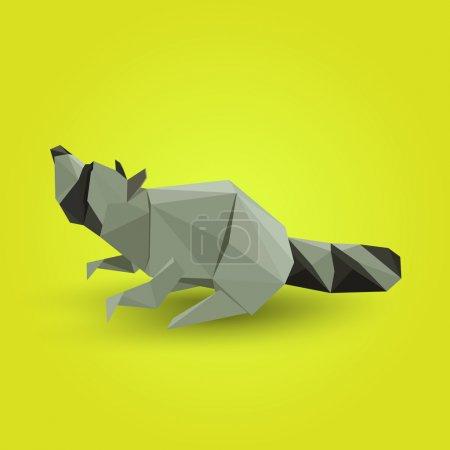 Illustration pour Illustration vectorielle du raton laveur origami . - image libre de droit