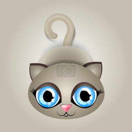 Illustration pour Illustration vectorielle d'un chat aux grands yeux bleus - image libre de droit